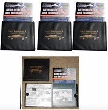 Set of 3 Auto Car Truck Registration Insurance Holder Wallet Black Case ID Card