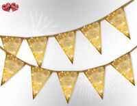 Happy New Year Stars Gold Bunting Banner 15 flags by PARTY DECOR