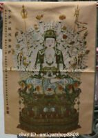 "36"" Tibet Silk Satin 1000 Arms Avalokiteshvara of Goddess Guan Yin Thangka Mural"