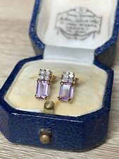 Stunning 9ct Gold Amethyst And Diamond Earrings
