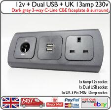 C-Line Grey 3-Way Frame 240v 13a Socket Double USB 12v Socket Caravan Motorhome