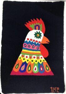 TERE Handmade Bird Op Art Wool Midcentury Wall Hanging Tapestry Hooked Rug 29x20