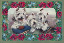 West Highland Terrier Dogs 1930s M. GEAR New LARGE Blank CHRISTMAS Note Cards