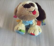 "Taggies Dog Plush Puppy 11"" Stuffed Animal Baby Tags Brown Tan Soft Toy Rattle"