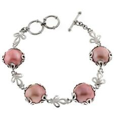 SPECIAL PRICE! FLOWER MOTIF PINK MABE PEARL 925 STERLING SILVER bracelet