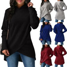Plus Size Womens Long Sleeve Asymmetric Hem Wrap Hoodie Sweatshirt Tops UK Stock