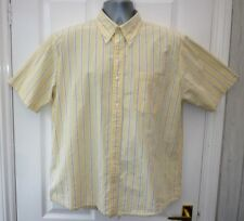 LANDS END Mens Size L Yellow Blue Multi Striped One Pocket Casual Cotton Shirt