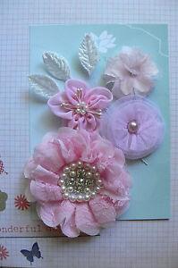 Lovely PINK SILK n LACE Mix 4 Flowers 45-90mm + 3 Velvet Leaves Green Tara GT4