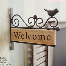 Vintage Shabby Chic Wood Welcome Sign Metal Bird WELCOME Plaque Wall Decor