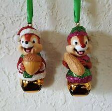 DISNEY Parks CHIP 'N DALE Santa & Elf suits Bell Christmas Ornament Set of 2 NEW