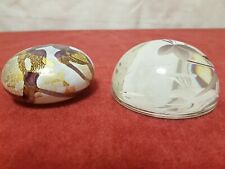 ISLE OF WIGHT STUDIO GLASS  PAPERWEIGHT & ROYAL DOULTON CRYSTAL PAPERWEIGHT