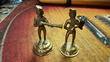 "Pair of Vintage Brass Musician Figures Made in India About 4"" Tall Horn"