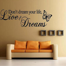 Home Room DIY Decor Removable Quote Word Decal Vinyl Art Wall Stickers Bedroom