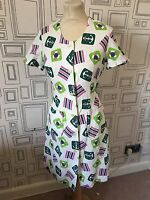 VINTAGE 60'S WHITE NAUTICAL PRINT MINI MOD SUMMER DRESS DRESS UK 10 SMALL