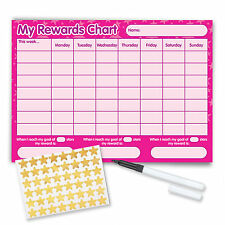 Re-usable Behaviour Reward Chart (inc FREE Stickers and Pen) - Pink Stars Design