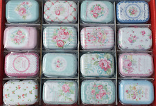 16pcs Empty Tinplate Tin Metal Container Small Storage Collectables Floral Style