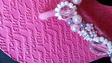 Betsey Johnson Women Leather Pink Bead Weekend Flip Flops Shoes Heels 7 M Medium