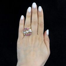 c.1940s Retro 14k Rose Gold Diamond Ruby Huge Cocktail Ring Vintage Estate