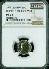 1977 CANADA 10 CENTS NGC MAC MS-68 PQ 2ND FINEST GRADE SPOTLESS  .