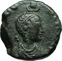 EUDOXIA Arcadius Wife 401AD Authentic Ancient Roman Coin VICTORY CHI-RHO i66388