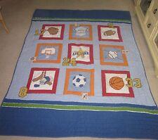 Kids Sports Twin Size Quilt Bedspread Football Baseball Soccer