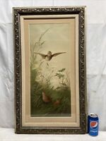 Vtg 1990 E. Vouga Art Wood Thrush Bird Daisy Nest Chick Print Barbola Framed