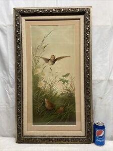 Vtg 1990 E. Vouga Art Wood Thrush Bird Daisy Nest Chick Print Barbola Framed