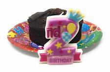 AEX 2nd Birthday Candle Cake Topper Number 2 Party Age Decor Bday Decoration