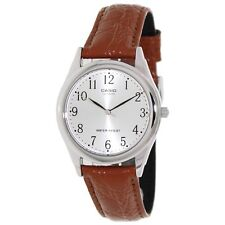 Casio Men's Brown Leather Strap Watch, Silvertone Dial, MTP1093E-7B