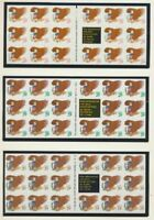 US Eagle & Shield 3 Complete 1992 Booklets Mint NH Unfolded #2595a, 2596a, 2597a