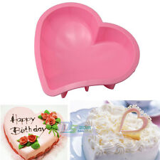 "7.9"" Big Heart Shape Silicone Cake Muffin Bread Pastry Baking Mold Pan Bakeware"