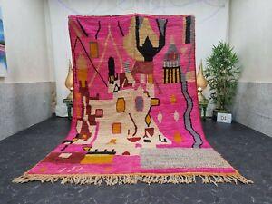 "Moroccan Boujaad Handmade Rug 6'4""x9'8"" Berber Abstract Pink Orange Wool Rug"