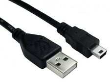 USB 2.0 Lead A Plug To Mini B 5 pin  1m 1 Metre  Data Cable  Power Lead Black