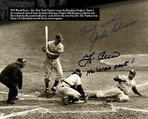 Jackie Robinson Yogi Berra Autographed Signed 8x10 Photo (HOF Dodgers) REPRINT