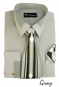 Men's Unique design French Cuff Dress Shirt Accent Collar With  Tie & Hanky #34