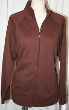 NYL ZIP UP JACKET cover up TRACK SUIT TOP COTTON SPORT CARDIGAN BROWN 1X XL