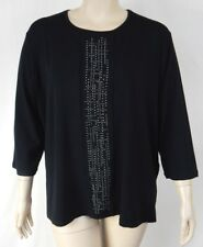 NEW Extra Pepper Black Soft Stretch 3/4 Sleeve Top Tunic Plus Size 24 BNWT #R99