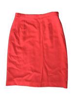 Giorgio Armani Coral Orange Pencil Wool Knee Length Skirt 44 / US 8