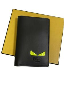 Fendi I See You Card Holder Wallet Black Yellow