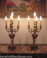 Antique Gilt Bronze & Rouge Marble 4 Light Candelabras