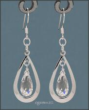 925 Silver Pear Drop Dangle Earring w/CZ Clear #65267
