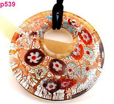 1pc double circularity little flower Murano Lampwork Glass Pendant Necklace p539