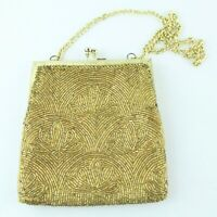 """Vintage Gold Tone Beaded Evening Bag Pouch Chain Strap Small 6"""" Art Deco Retro"""