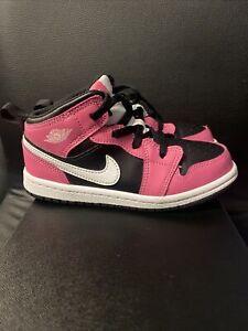 Nike Air Jordan 1 Mid Pinksicle (TD) Size 10C Pre Owned Pink Black 644507-002