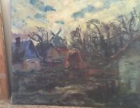 Original Oil Canvas Painting Mogens Vantore Danish Windmill 28 X 24