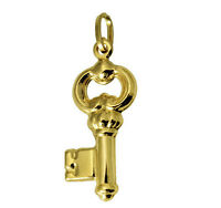 14K Real Yellow Gold Key To My Heart Love Charm Pendant 3D Puffed Hollow
