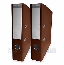 Exacompta A4 Lever Arch Files - Pack of 2: Chocolate Brown. 70mm Spine PVC Cover