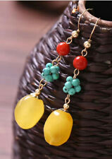 D03 Earrings Yellow Wachsjade Turquoise Blue Agate Red 14 Gold Plated
