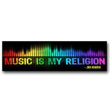"""CM043 - """"Music is My Religion"""" - Jimi Hendrix Quote Color Mini Sticker"""