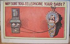 Vintage Postcard Why Don'T You Telephone Your Baby Humor Mogote Co 1909 Cartoon